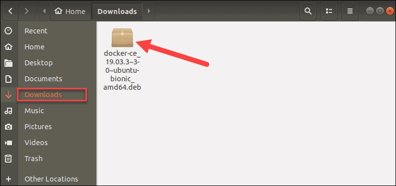 example of a deb package in the downloads folder