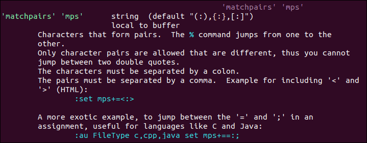 Commands for finding matchpairs in Vim.