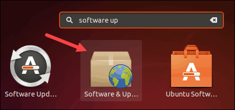 Find the Software and Updates icon on Ubuntu.