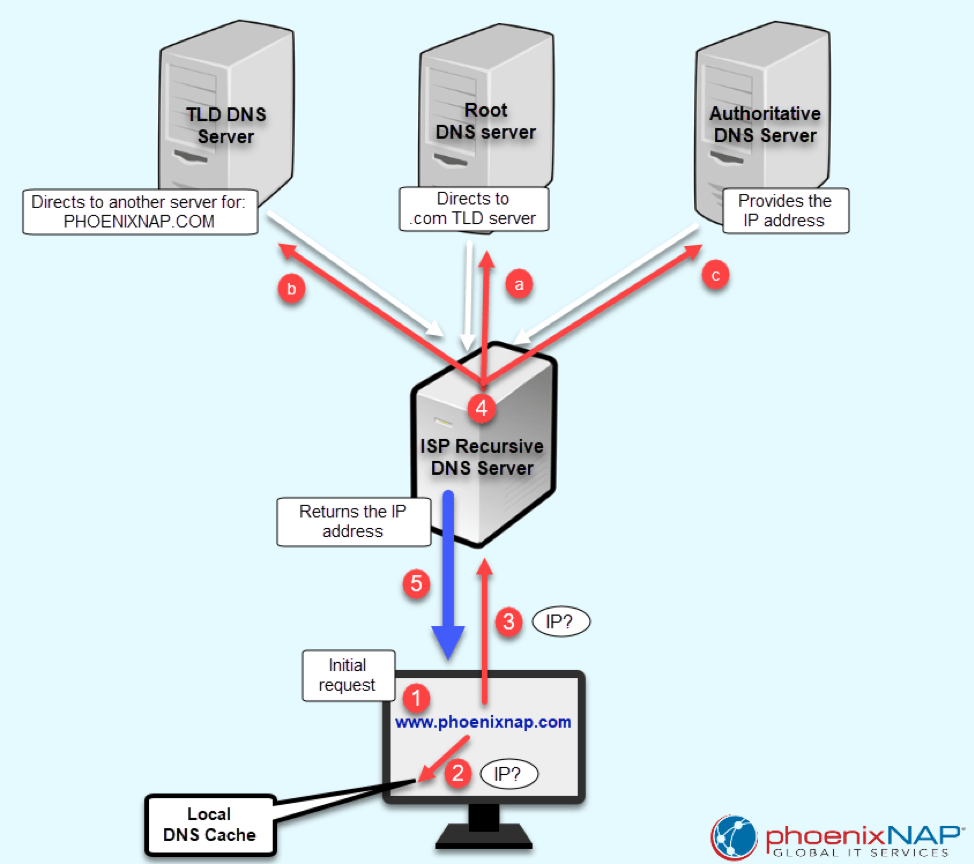 diagram of Domain Name System and Servers
