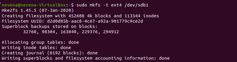 Format the partition by using mkfs command.