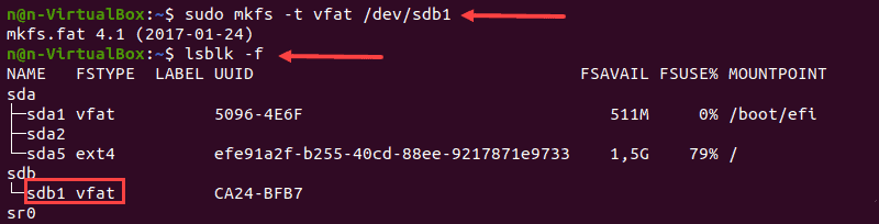 Formatting disk partition using FAT32 file system in Linux.