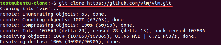 git clone command to download files to your system
