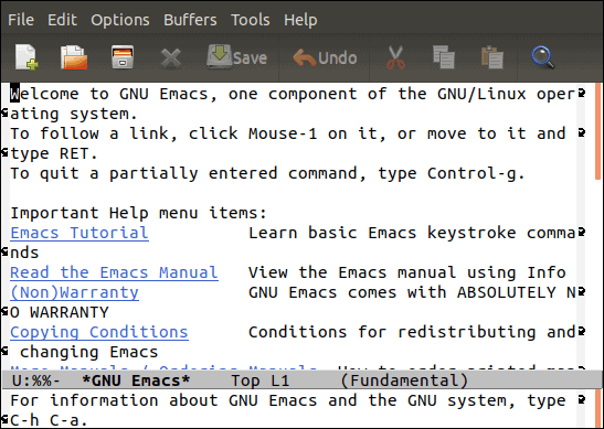 gnu emacs welcome page