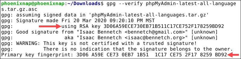 output provides the GPG key to verify the downloaded files