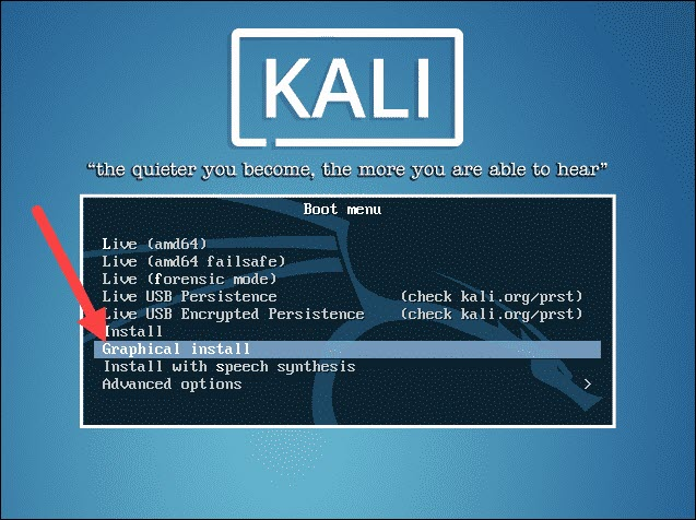 graphical install for kali linux