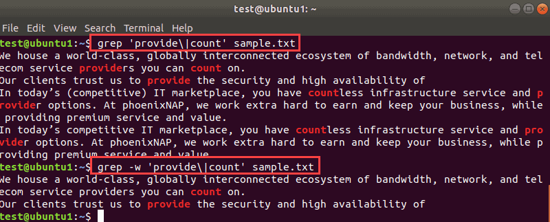 Terminal output when searching multiple exact matches with grep.