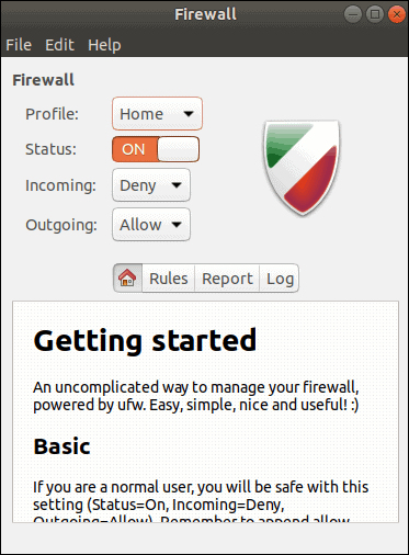 Getting started with GUI firewall settings.