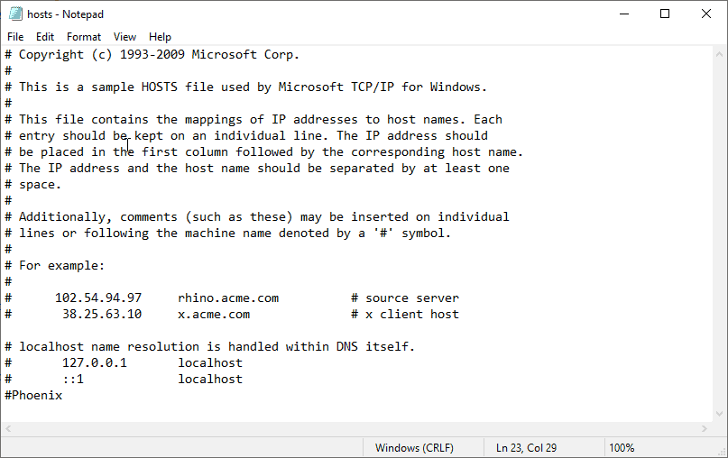 Image of the Windows hosts file.