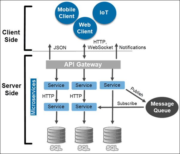 Graph explaining Microservices from Client and Server side