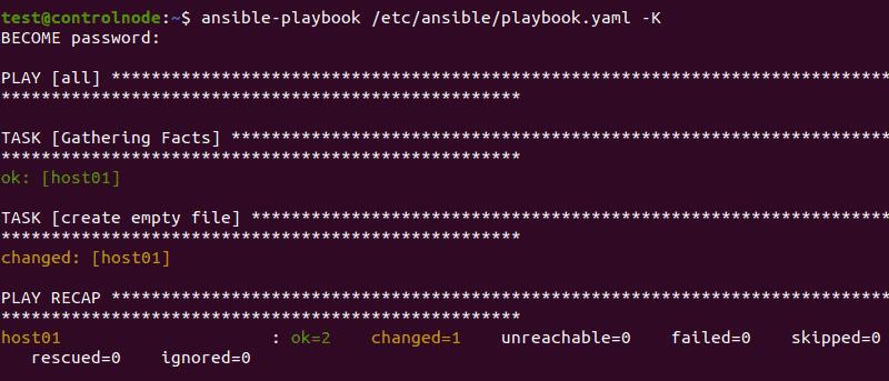 Executing an Ansible playbook