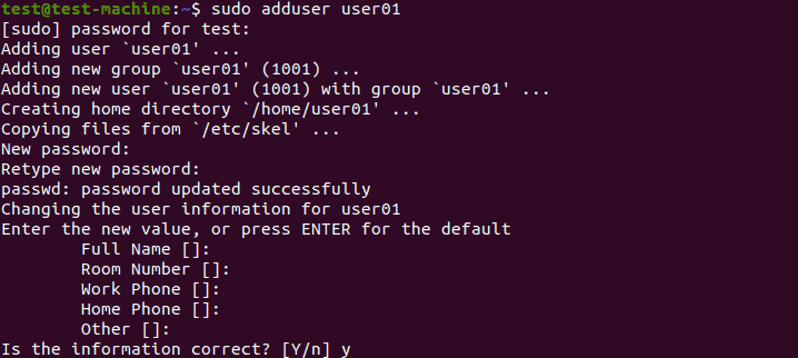 Output when adding a new user.