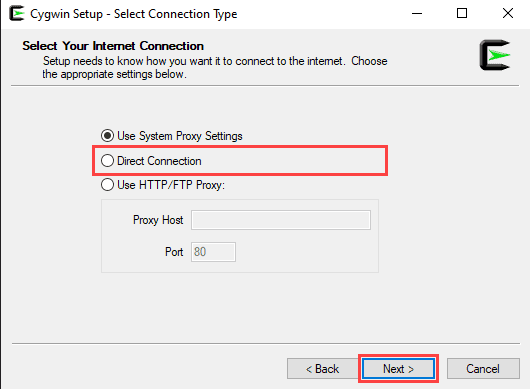 Setting up internet connection