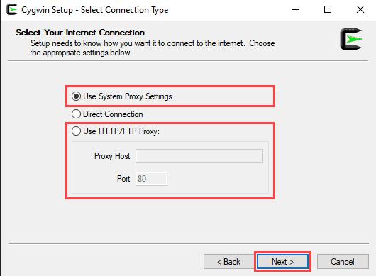 Proxy settings for Cygwin