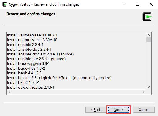 Finishing instalation of Ansible through Cygwin