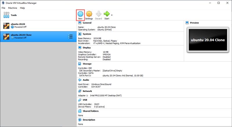 Creating a new Linux virtual machine in VirtualBox