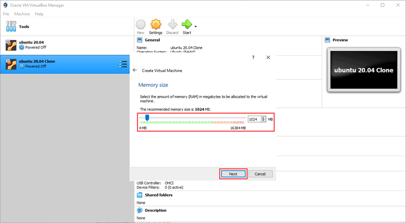 Set the amount of RAM for your new VM