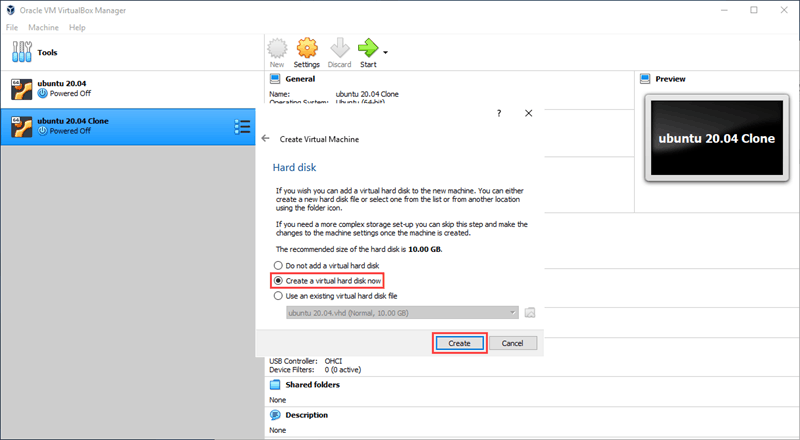 Set up a hard disk for your new VM