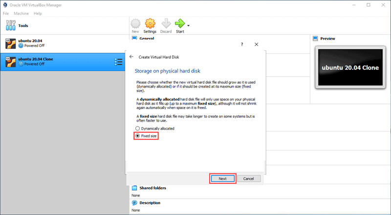Choose if the hard disk for your new VM has fixed or dynamic size