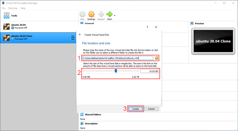 Select the location and size of the hard disk for your new VM