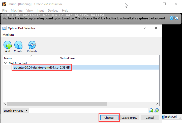 Choose the new image in the Disk Selector