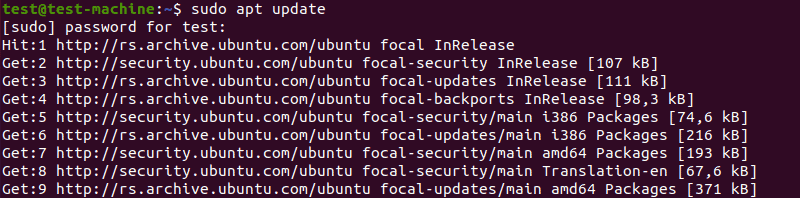 Refreshing the system's package index with the 'sudo apt update' command