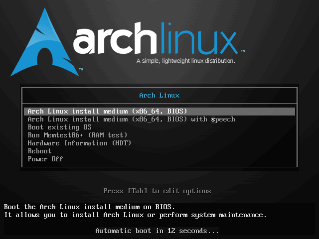 Select Boot Arch Linux (x86_64) in the boot menu