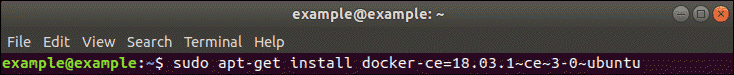 installation of a specific version of docker in terminal
