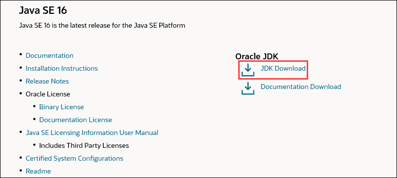 Link to the installation files for Java SE 16