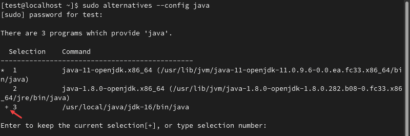 Checking the Java alternatives to switch between available versions