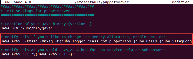 Edit the puppetserver file to change available RAM to 1GB