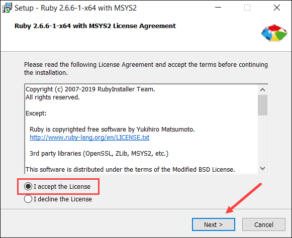 installing ruby from install tool