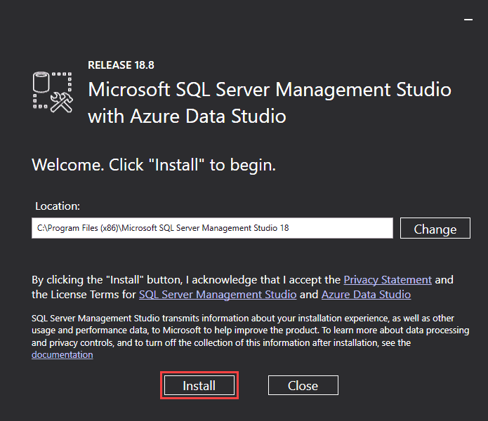 Install SQL Server Management Studio