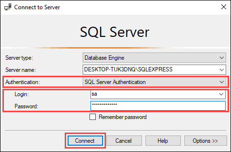 Connect to the server using the credentials you created during the setup