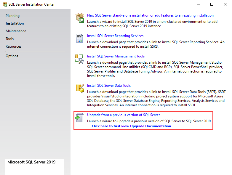 Select the Upgrade from a previous version of SQL Server option