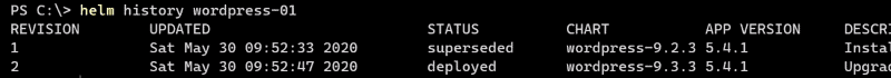 Finding the revision number with the helm history command