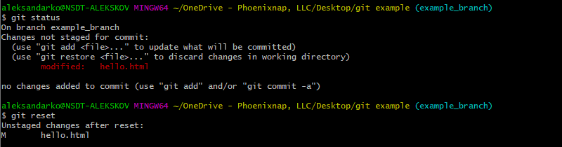 using $git reset to unstage all changes