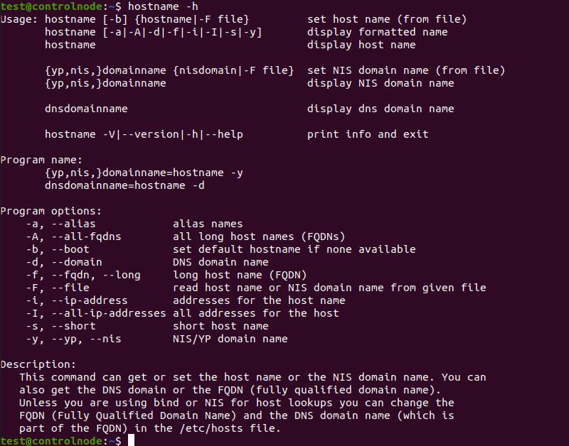 Hostname help output