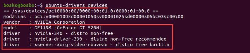Identify GPU and available Nvidia drivers in Ubuntu 20.04.