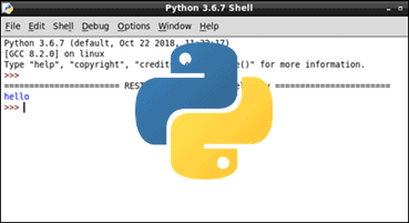 IDLE IDE with the official Python logo in the center