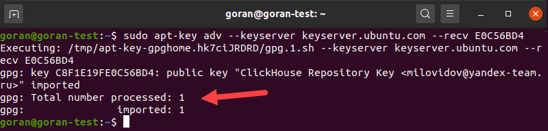 Confirmation of successful repository key addition