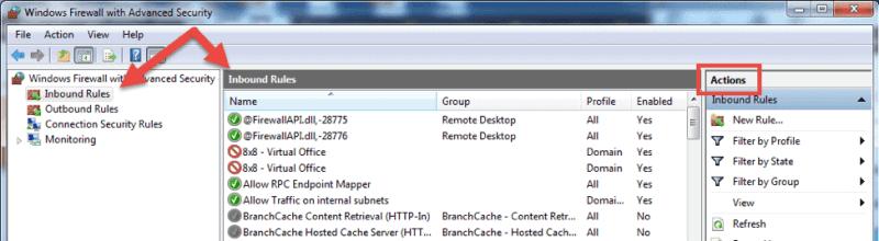 windows firewall rule setup menu