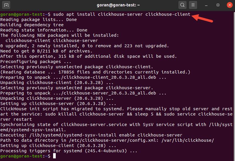 Terminal output when installing clickhouse-server and clickhouse-client
