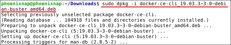 command to install docker-ce-cli from deb file