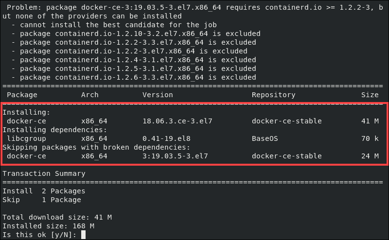 Installing docker ce with the nobest command
