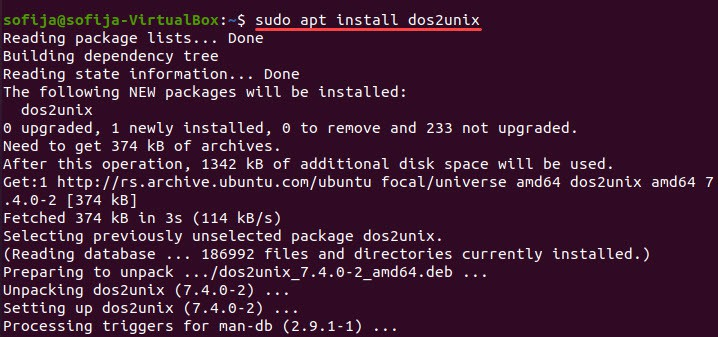 The command to install dos2unix tool on Linux systems.
