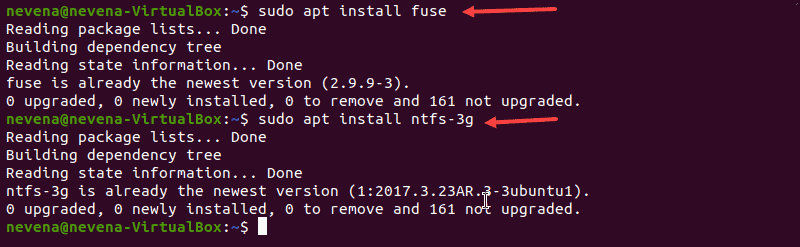 Installing fuse and ntfs-3g in order to mount partition with read-and-write permissions.