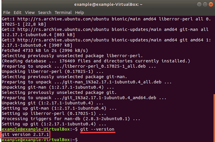 verifying that git was installed successfully on ubuntu