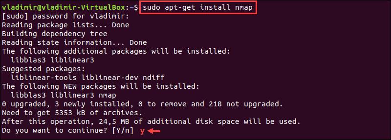 Command to install nmap on ubuntu and debian