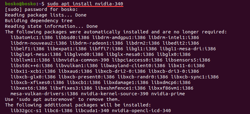 Install Nvidia drivers by using the terminal in Ubuntu 20.04